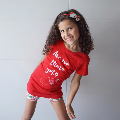 Are we there yet? Kids tee in red.