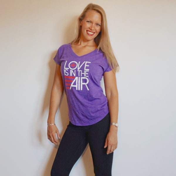 Airplane Love Is In The Air T-shirt Heather Purple