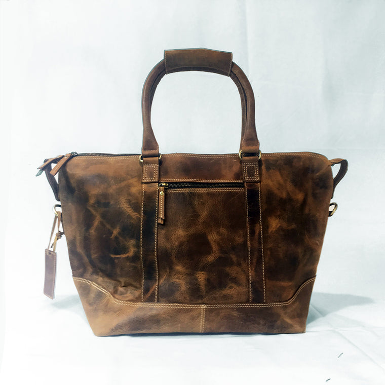 Leather Weekender Duffel and Travel Bag