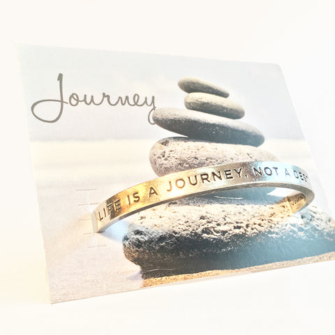 """Life Is A Journey Not A Destination"" pewter open adjustable cuff bracelet with backer card"