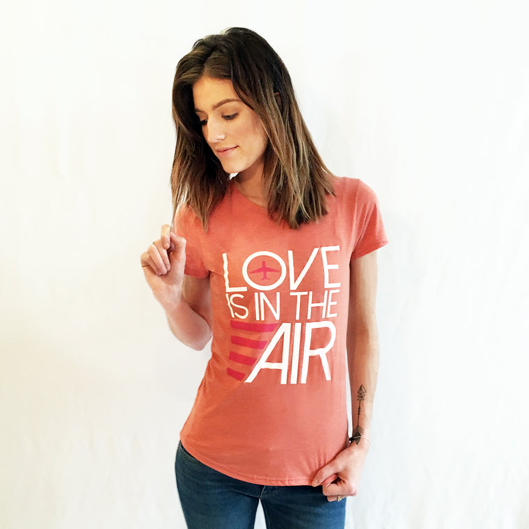 Airplane Love Is In The Air T-shirt Heather Bronze
