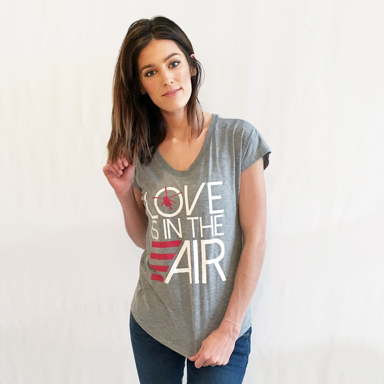 Helicopter Love Is In The Air V-Neck T-shirt Grey
