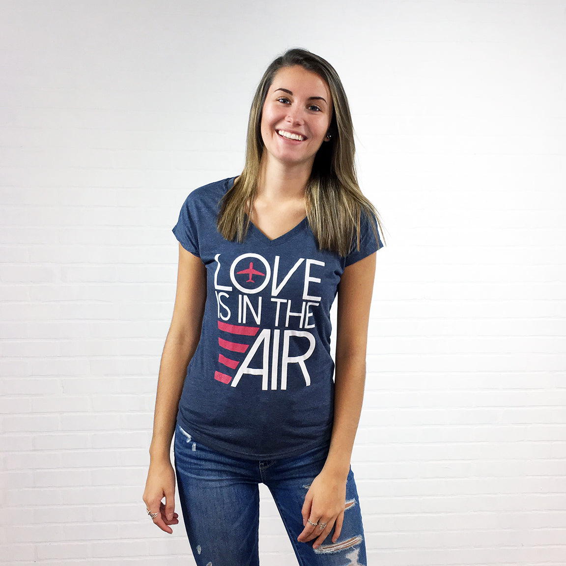 Airplane Love Is In The Air T-shirt Heather Navy