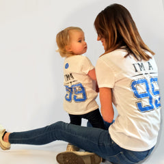 One Plane Jane Mother & Daughter matching I'm A 99 t-shirts. Printed in black and bright blue