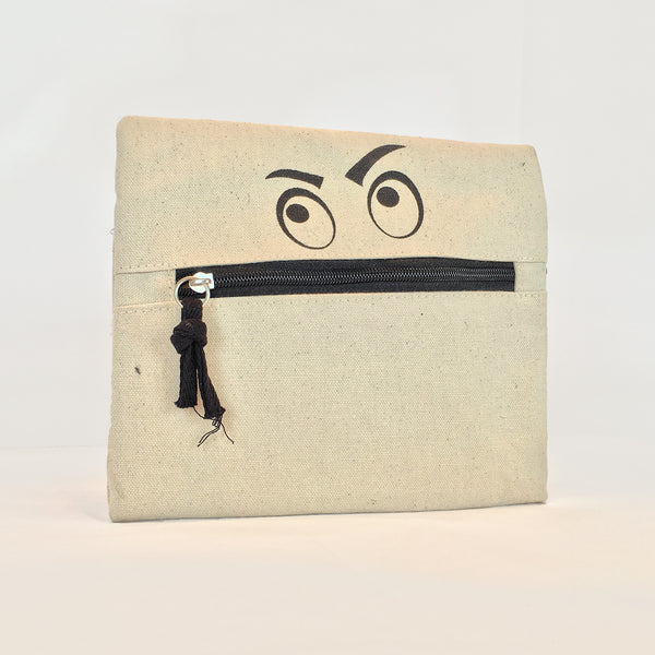 Silly Zippered Pouch front view. Zipper represents mouth and angry eyes make it look like a face.
