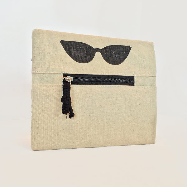 Silly Zippered Pouch front view. Zipper represents mouth and sunglasses make it look like a face.