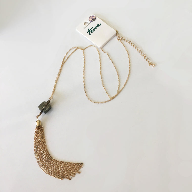 Necklace - Stone Gold Tassel Pendant