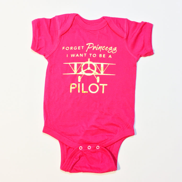 I WANT TO BE A PILOT Infant Onesie Bodysuit Hot Pink