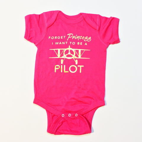 One Plane Jane Infant Onesie One Piece Bodysuit - Forget Princess, I want to be a pilot.  Shown in hot pink with gold leaf printing.