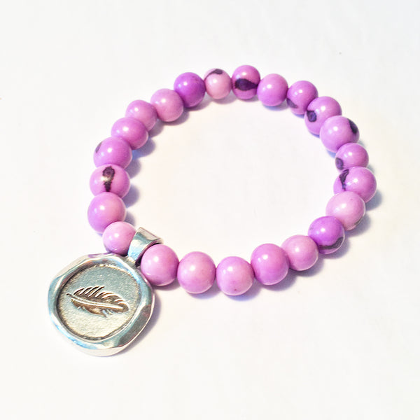 SOAR / FEATHER Acai Seed Lavender Beaded Bracelet