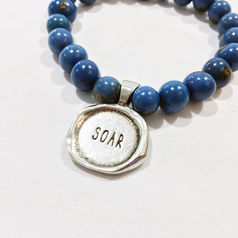 SOAR / FEATHER Acai Seed Denim Blue Beaded Bracelet