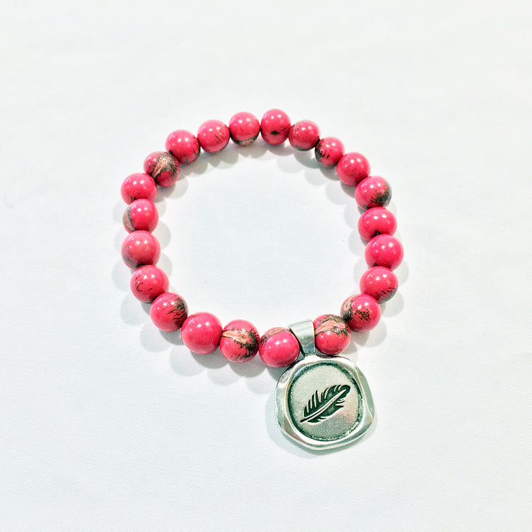 SOAR / FEATHER Acai Seed Tiger Fuchsia Pink Beaded Bracelet