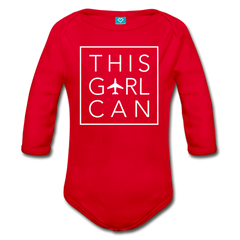 This Girl Can Organic Cotton Longsleeve Bodysuit - red