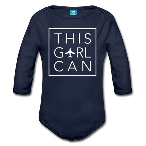 This Girl Can Organic Cotton Longsleeve Bodysuit - black