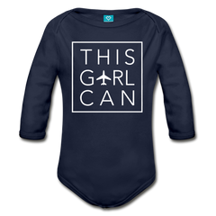 This Girl Can Organic Cotton Longsleeve Bodysuit - dark navy