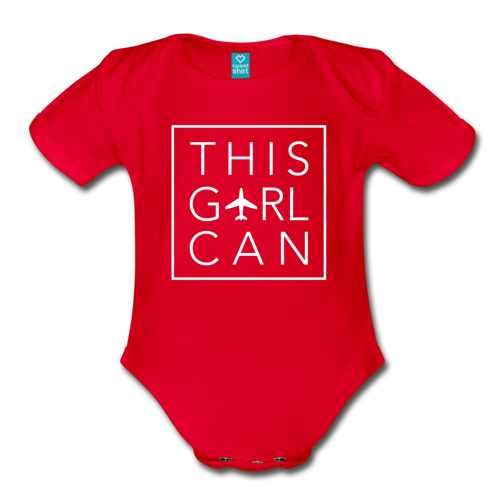 This Girl Can Organic Cotton Bodysuit - red