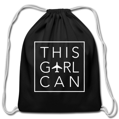 This Girl Can Cotton Drawstring Bag - navy