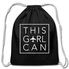 This Girl Can Cotton Drawstring Bag - black