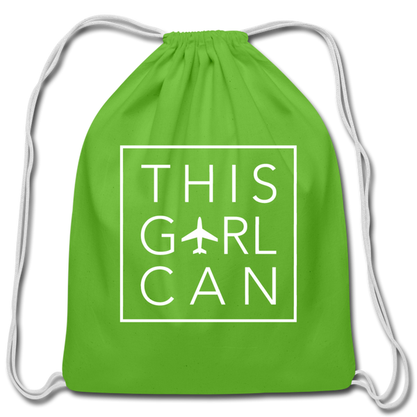 This Girl Can Cotton Drawstring Bag - clover