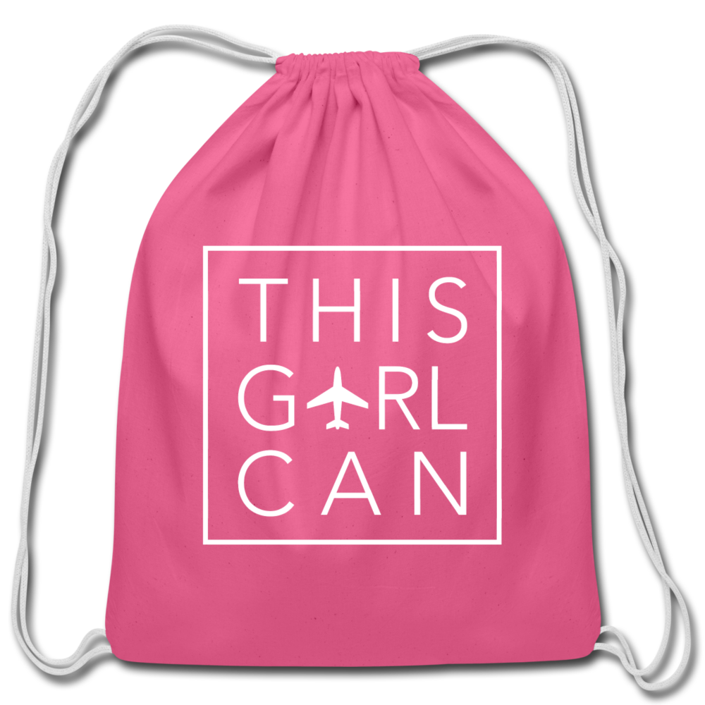 This Girl Can Cotton Drawstring Bag - pink