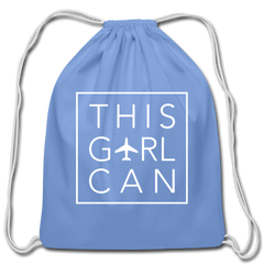 This Girl Can Cotton Drawstring Bag - carolina blue