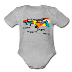 Eeny Organic Short Sleeve Baby Bodysuit - heather gray
