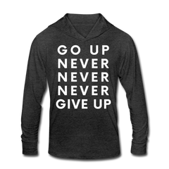 Go Up Never Give Up - Hoodie Tee - heather black