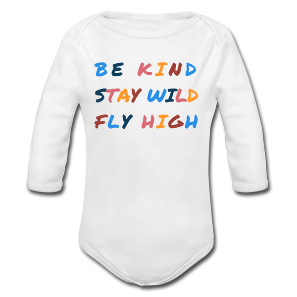 Kind, Wild, and Fly Long-sleeve Onesie - white