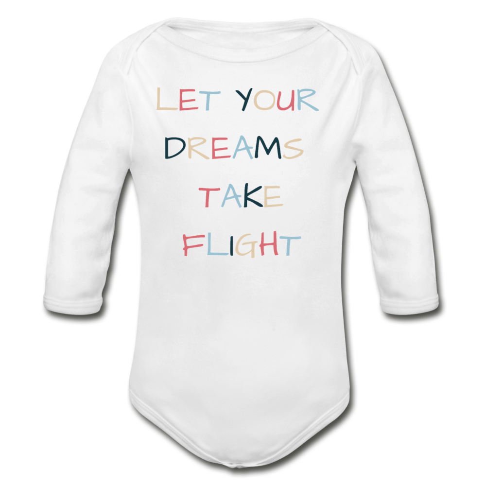 Let Your Dreams Take Flight Long-sleeve Onesie - white