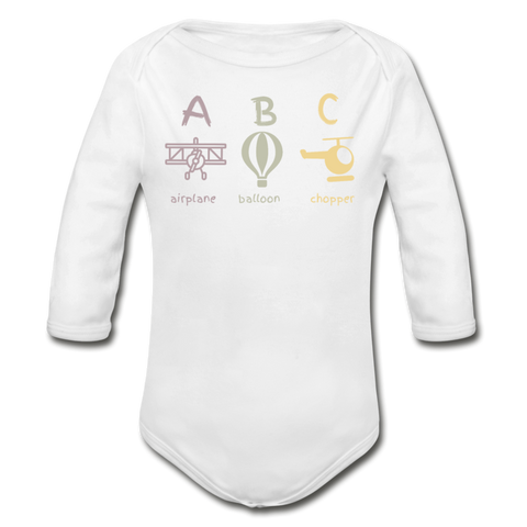 A B C Long-sleeve Onesie - black