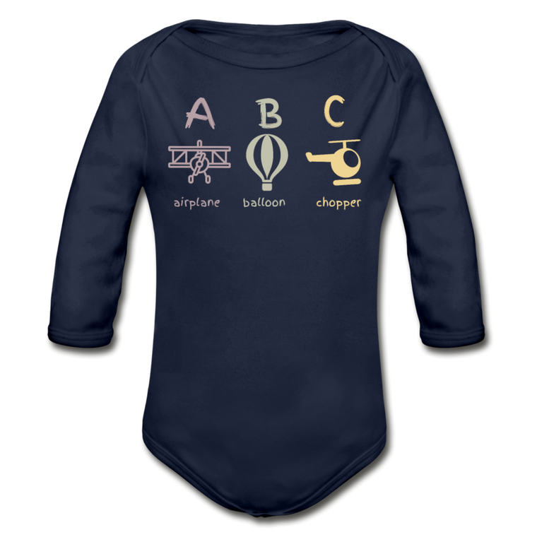 A B C - Organic Cotton Long-sleeve Onesie