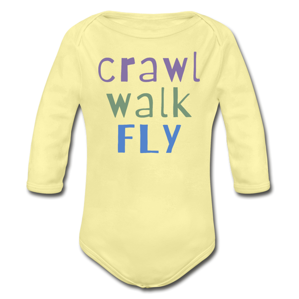 Crawl Walk Fly Long-sleeve Onesie - washed yellow