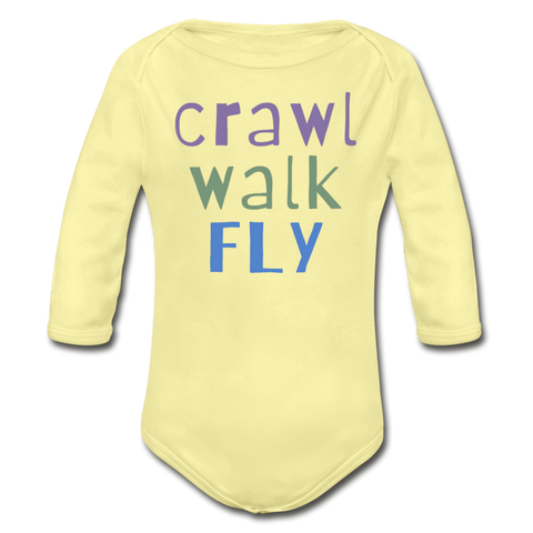 Crawl Walk Fly Long-sleeve Onesie - black