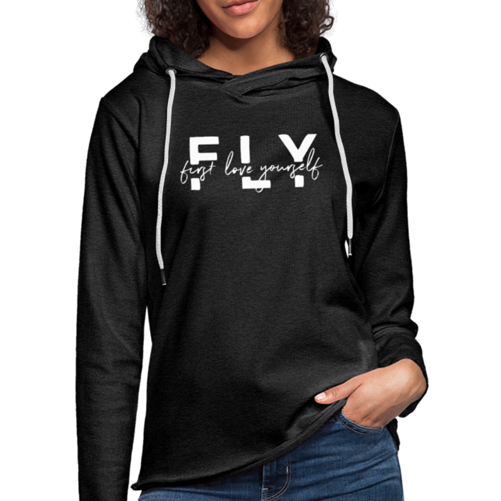 First Love Yourself Terry Hoodie - charcoal gray