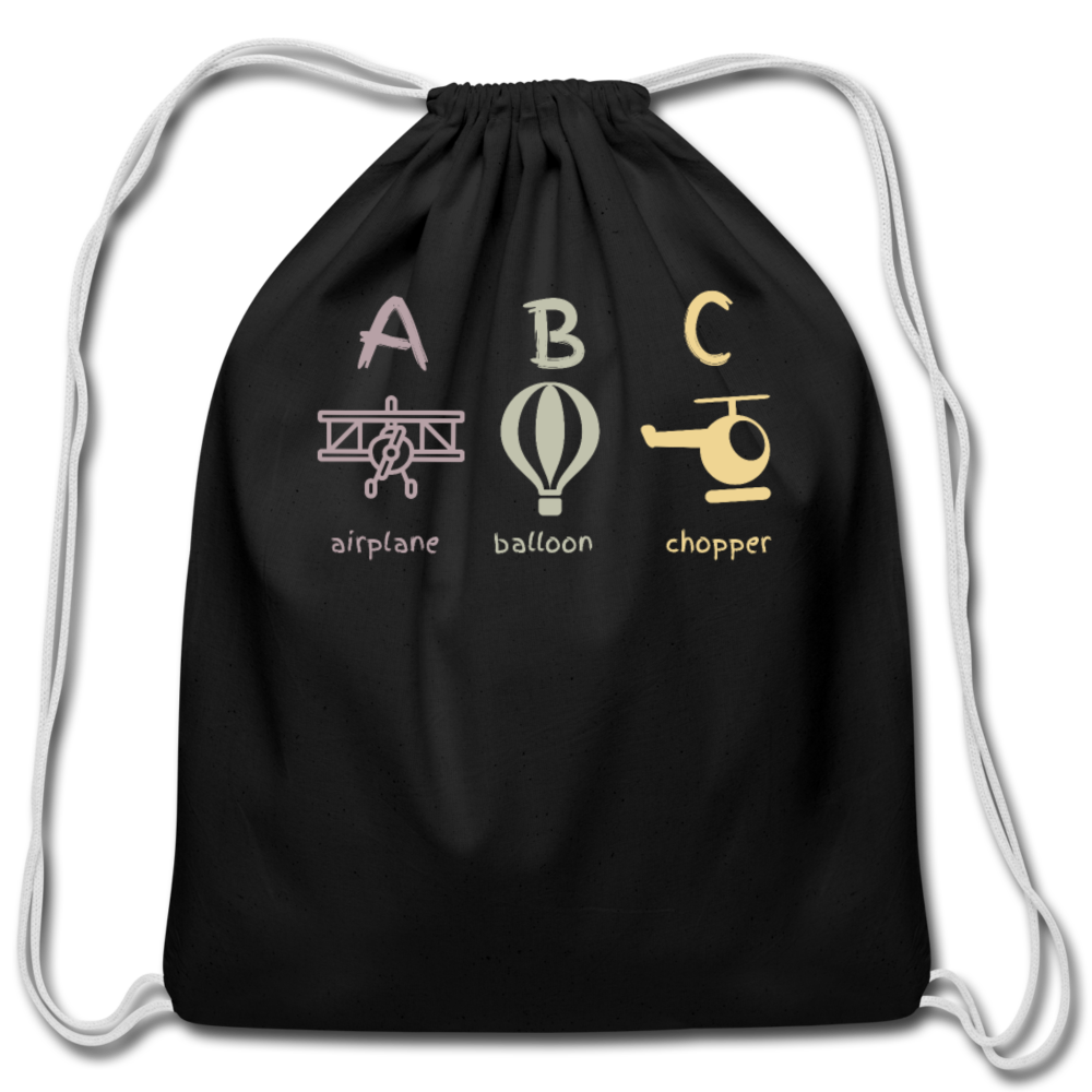 ABC Cotton Drawstring Bag - black