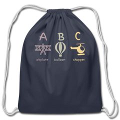 ABC Cotton Drawstring Bag - navy