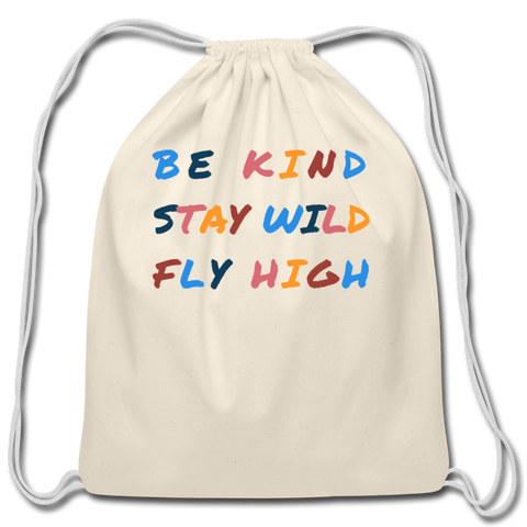 Kind, Wild, and Fly Cotton Drawstring Bag - natural