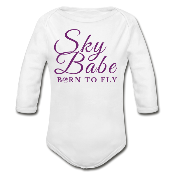 Sky Babe - Organic Cotton Long-sleeve Onesie - white