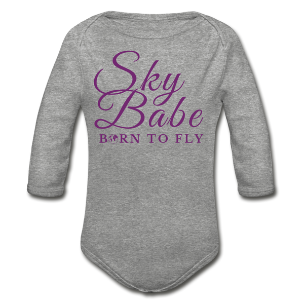 Sky Babe - Organic Cotton Long-sleeve Onesie - heather gray