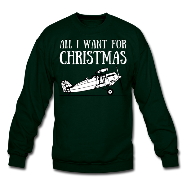 All I Want For Christmas Sweatshirt - forest green
