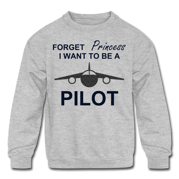I Want to be a Pilot Youth Sweatshirt - Black Glitter - heather gray