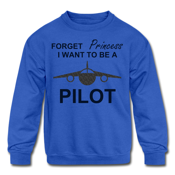 I Want to be a Pilot Youth Sweatshirt - Black Glitter - royal blue