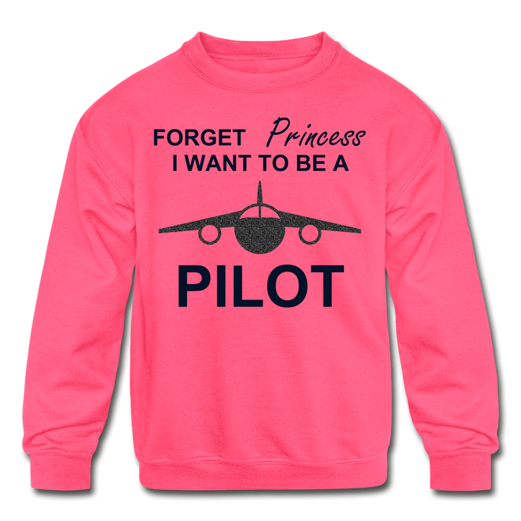 I Want to be a Pilot Youth Sweatshirt - Black Glitter
