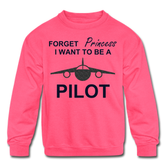 I Want to be a Pilot Youth Sweatshirt - Black Glitter - neon pink