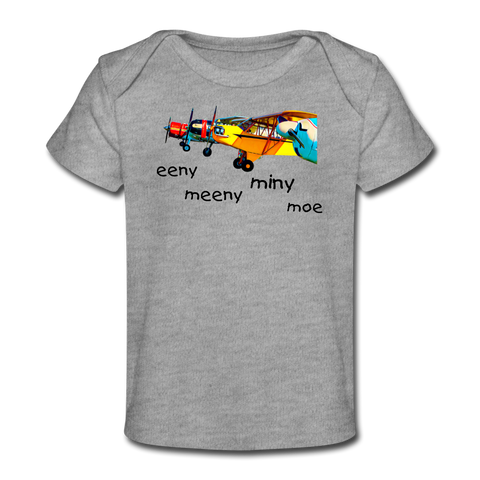 Eeny Meany Miny Moe Organic Baby T-Shirt - heather gray