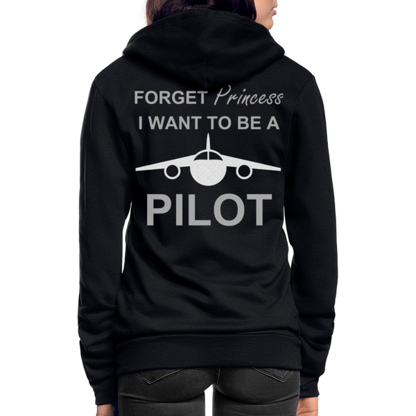 I Want to be a Pilot Fleece Zip Hoodie - black