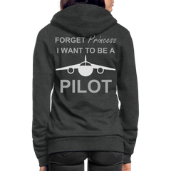 I Want to be a Pilot Fleece Zip Hoodie - charcoal gray