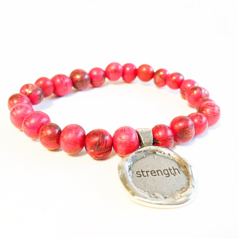 STRENGTH Acai Seed Pink Beaded Bracelet