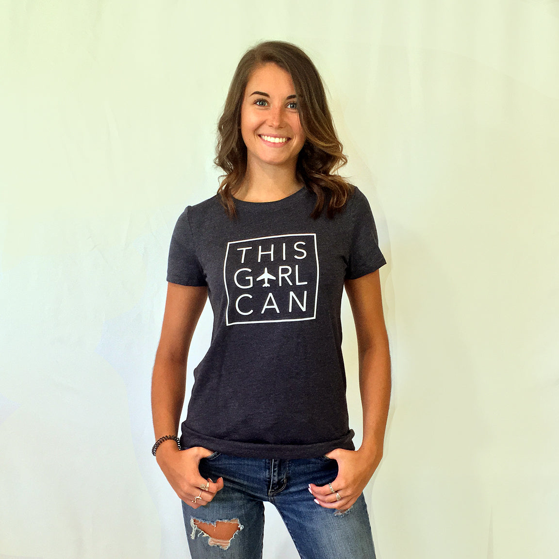 THIS GIRL CAN Tri-blend Tee Vintage Navy - Junior Fit