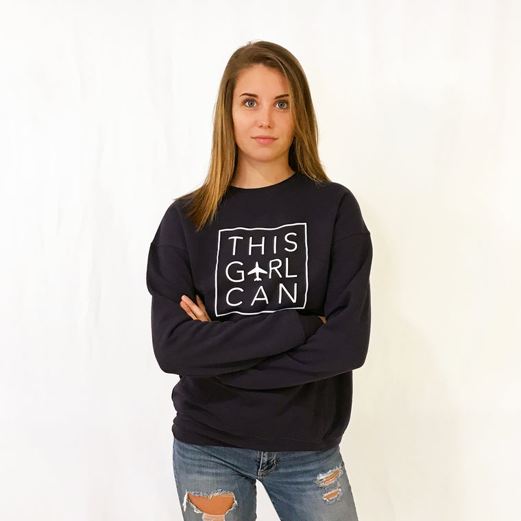 THIS GIRL CAN Navy Crew Neck Sweatshirt